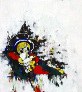 Adoration of the Shepherds of the astronaut, oil on canvas, Tomoko Nagao