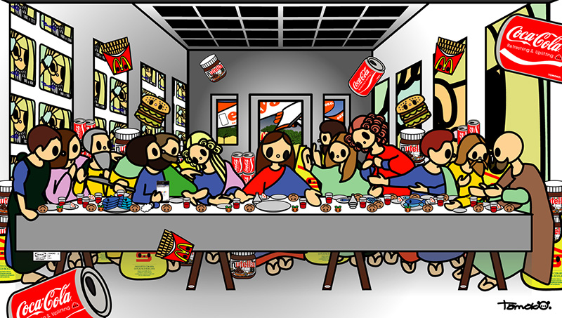 Leonardo da Vinci-The Last Supper with MC, easyjet, coca-cola, nutella, esselunga, IKEA, google and Ladygaga, Tomoko Nagao
