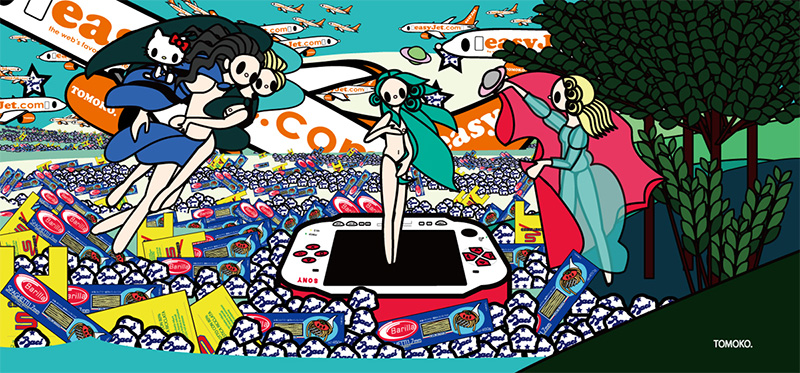 The Birth of Venus with baci, esselunga, barilla, PSP and easyjet, Tomoko Nagao