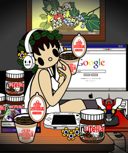 Caravaggio, -young-sick-Bacchus with google , nutella, cupnoodle and PSP, Tomoko Nagao