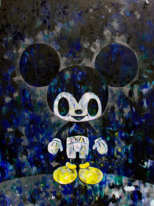 Mickey with Armani, oil on canvas, Tomoko Nagao