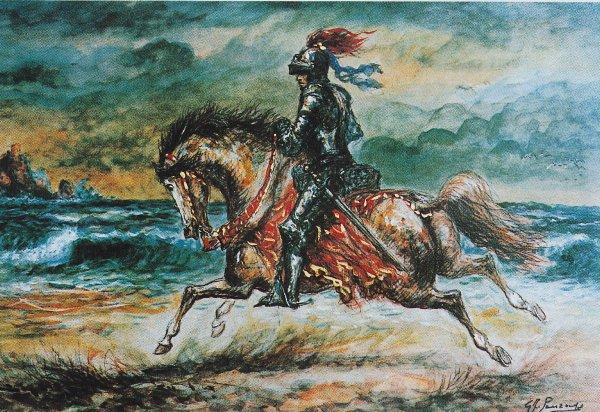 Tav.VIII - Cavaliere al galoppo sulla spiaggia