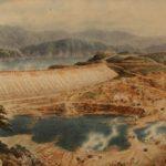 Om-Yong-Ho-Area-di-costruzione-della-diga-di-Sam-Su-2004-korean-painting-cm-92-x-244-624x219