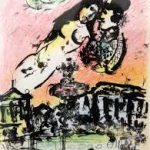 Marc Chagall, AMANTI IN VOLO, Litografia a colori dal libro illustrato litografico, 1963.