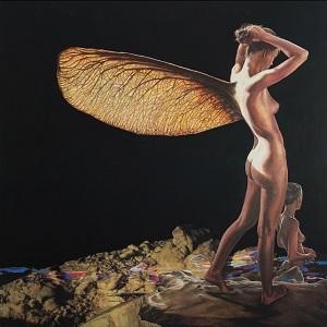 """Josè Molina, """"La prima mattina"""", Collezione Beloved Earth, olio su tavola, 115 x 115 cm, 2015"""