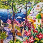 Athos Faccincani, Positano e un dolce incontro, olio su tela