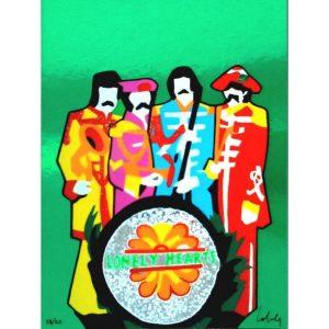 """Marco Lodola, """"The Rockstars - The Beatles"""". Serigrafia su carta. Disponibile presso la Galleria Deodato Arte."""