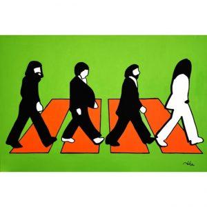 """Marco Lodola, """"The Beatles - Strisce"""". Smalto su tela, pezzo unico. Disponibile presso la Galleria Deodato Arte."""