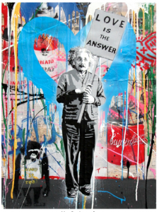 MR. BRAINWASH, , Einstein, mixed media on paper, 76,2 x 57,1 cm, 2016. Unique Piece
