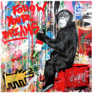 MR. BRAINWASH, Everyday Life, stencil and mixed media su carta, 106,7 x 106,7cm, 2016. Unique Piece.