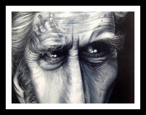 dettaglio  I creatori dell'ombra, Josè Molina; Matita grassa su carta, 61,4 x 48 cm, 2017.