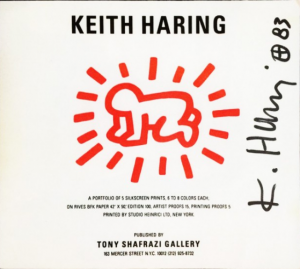 Keith Haring, Cover - Bambino Radiante, firmato in originale a pennarello nero. Disponibile alla Galleria Deodato Arte.