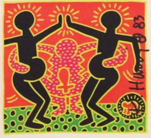 Keith Haring, Abbraccio e Maternità, card originale con firma a pennarello nero. Disponibile alla Galleria Deodato Arte.