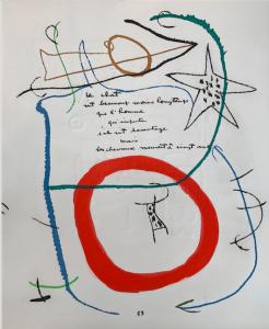 Adonides, pag. 53. Incisione grafiche di Joan Mirò, poesia originale di Jacques Prevert.