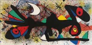 Joan Miró Senza Titolo 2, 1974 litografia a colori, cm 27,8 x 56,5.
