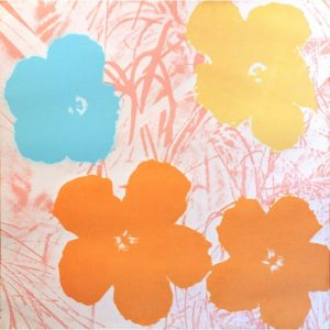 "Andy Warhol, Flowers, serigrafia originale con firma sul retro, siglata con la celebre dicitura ""This is not by me, Andy Warhol"". Disponibile alla Galleria Deodato Arte"