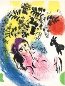 Marc Chagall, Gli Innamorati, litografia originale. Disponibile alla Galleria Deodato Arte.