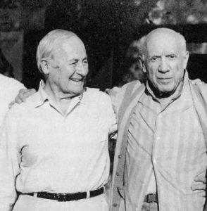 I due artisti Joan Mirò e Pablo Picasso, insieme.