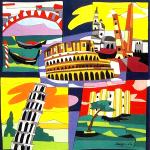Ugo Nespolo, Cinque Monumenti Italici