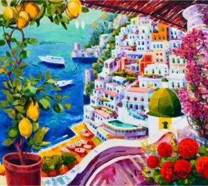 Athos Faccincani, Splendidi limoni incorniciano Positano, pezzo unico, 80x90 cm, Disponibile alla Galleria Deodato Arte.