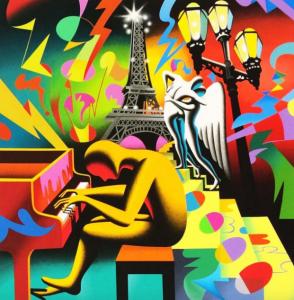 Eternal Melody, Marc Kostabi, serigrafia, 70x70 cm. Disponibile alla Galleria Deodato Arte.