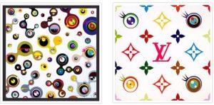 A sinisra Jellifish Eyes White 4 - opera di Takashi Murakami disponibile presso la Galleria Deodato Arte. A destra l'opera dell'artista Giapponese rivisitata per Louis Vuitton
