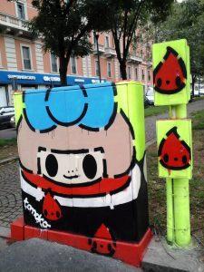 Stencil di Tomoko Nagao per il progetto Energy Box - Milano