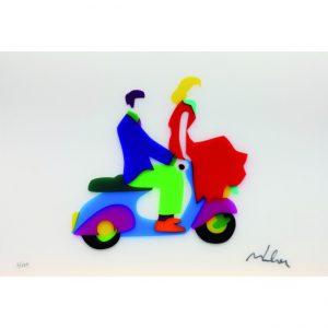Vacanze Romane - sericollage di Marco Lodola disponibile presso la galleria Deodato Arte