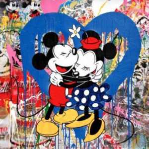 Mickey&Minnie Blu, tecnica mista su carta - Mr. Brainwash disponibile presso la galleria Deodato Arte