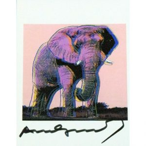Elefante africano - card firmata in originale da Andy Warhol disponibile presso la galleria Deodato Arte