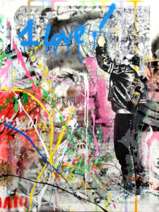 The Wall - opera unica di Mr.Brainwash in vendita presso la Galleria Deodato Arte