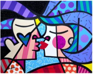 Love Circle Love - Opera d'arte di Romero Britto in vendita presso la Galleria Deodato Arte