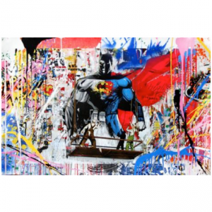 Opera unica di Mr. Brainwash Batman vs Superman disponibile presso la galleria Deodato Arte