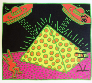 Keith Haring, Ufo, card firmata in originale. Disponibile alla Galleria Deodato Arte.