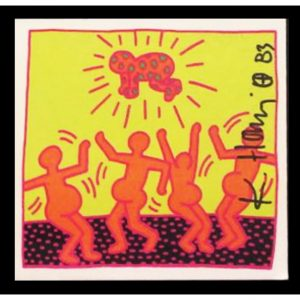 Danza - Card firmata in originale da Keith Haring disponibile presso la galleria Deodato Arte