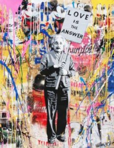 Einstein, tecnica mista su carta - Mr. Brainwash, disponibile presso la galleria Deodato Arte