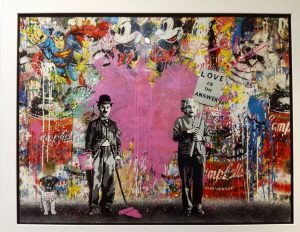 Juxtapose, tecnica mista su  carta - Mr. Brainwash disponibile presso la galleria Deodato Arte
