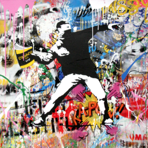 Banksy Thrower - opera unica di Mr.Brainwash in vendita presso la Galleria Deodato Arte di Milano