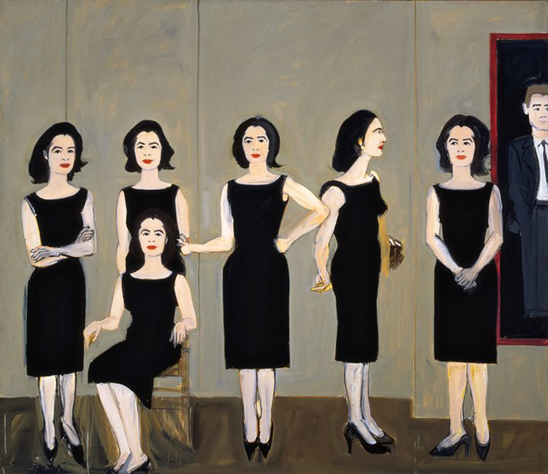 Alex Katz, Black Dress, 1960, Oil on linen, 72 1/4 x 84 1/2 inches